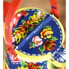 Close-up of the Hand Painted Floral Design on the Top of the Watering Can