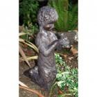 Boy Kneeling With Frog Sculpture
