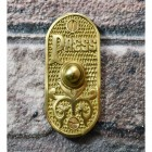 Vintage Polished Brass Bell Push on brick wall