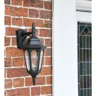 Bridlington Large Top Fix Black Wall Lantern in Use by the Front Door