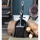 Bright Chrome and Black Iron Shovel and Brush in Situ by the Fire Place