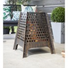 Contemporary Fire Basket Finished in Bronze with a Dotted Design