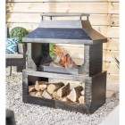 Bronze Wood Burner and Log Store in Use Burning Wood