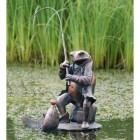 Bronze Fishing Frog Sculpture in Situ in a Pond