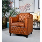 Brown Leather Traditional Arm Chair in Situ