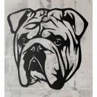 Bulldog Metal Wall Art Silhouette on a Rustic Wall