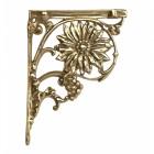 Polished brass sunflower shelf bracket