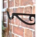 Black Scroll Iron Hanging Basket Bracket Close-Up