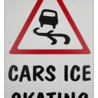 "Close-up of the ""Cars Ice Skating"" Wall Sign"