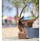 Cast Iron Antelope Garden Bust