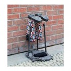 """Cast Iron """"Horse"""" Boot Brush & Scrapper Rustic Welly Rack in Use Outdoors"""