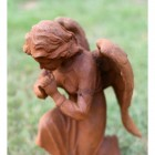Cast Iron Praying Angel Sculpture - Side View
