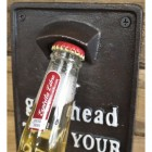 Cast Iron Wall Mounted Take Your Top Off Bottle Opener Close Up