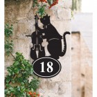 Bespoke Cat & Fiddle Iron House Number Sign in Situ
