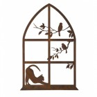 Cat & Window Silhouette Wall Art in a Rustic Finish