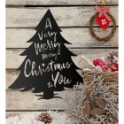 Christmas Tree Steel Wall Art in Use on a Wooden Wall