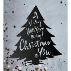 Christmas Tree Steel Wall Art in Situ on a Rustic Wall