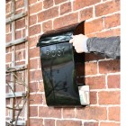 """""""Cityscape"""" Black Contemporary Post Box With Lock and Newspaper Holder to Scale"""
