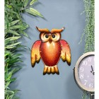 Glass & Metal Owl Wall Art Finished in Orange and Yellow
