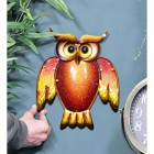 Glass & Metal Orange Owl Wall Art to Scale