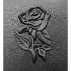 Close-up of the Black rose Motif on the Front of the Post Box