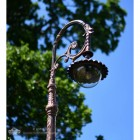 Close Up Of Antique Copper Luminaire with Domed Lense