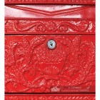 Close Up Of Red Locking Post Box Door