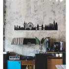 Black London Silhouette Wall Art on a Rustic Wall