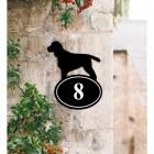 Bespoke Cocker Spaniel Iron House Number Sign in Situ