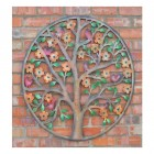 Colourful Rustic Tree Wall Art in Use Outdoors