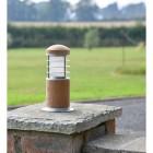 Compact Wooden Bollard Light  in Situ on a Pillar
