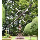 Wrought Iron Scroll Design Armillary Sundial Finished in a Rustic Brown