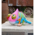 Colourful Chameleon Garden Ornament in Situ on the Garden Wall