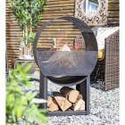 Black Contemporary Circular Steel Wood Burner in Situ in the Garden