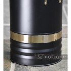 close-up of the Black Finish with Brass Rim