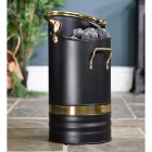 Contemporary Black Coal Hod With Brass Handles Holding Coal