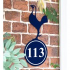 Contemporary Cockerel Iron House Number Sign in Situ on a Brick Wall