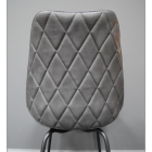 Close-up of the Back of the Grey Leather Dining Chair