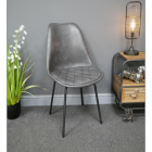 Grey Leather Dining Chair in Situ