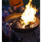 Contemporary Firepit in Situ in the Garden at Night