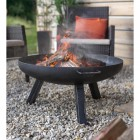 Contemporary Steel Firepit Burning Wood