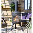 Contemporary Steel Garden Fireplace in Situ