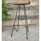 Wooden  Bar Stool with Iron Legs