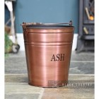 Copper Finish Ash Bucket in Situ by the Fire Place