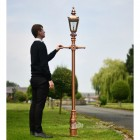 Copper Harrogate Lantern on Rose Gold finished cast iron lamp post Scale Shot