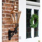 Copper hexagonal porch wall mounted lantern