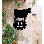 Bespoke Cow Iron House Number Sign in Situ