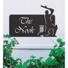 Black Cricket Player Iron House Name Sign on a White Wall