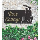 Cricket Player Iron House Name Sign with Gold Vinyl