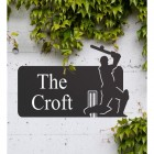 Cricket Player Iron House Name Sign in Situ on the Front of a House